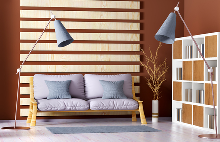 Interior design of modern living room with sofa, bookcase and floor lamp, 3d rendering Foto de archivo - 119063109
