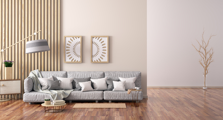 Interior design of modern living room with gray sofa, coffee table with books and cabinet, 3d rendering Foto de archivo - 119063705