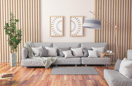 Interior design of modern living room with gray sofa, coffee table with books and plant, 3d rendering Foto de archivo - 119063927