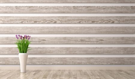 Interior background of living room with wood paneling and vase with branch 3d rendering