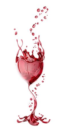 Red wine glass with splash over white background, abstract isolated 3d rendering Stok Fotoğraf