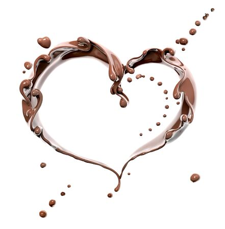 Splash of chocolate abstract background, chocolate heart isolated 3d rendering