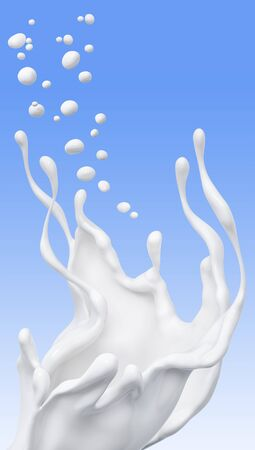 Splash of milk abstract background, isolated 3d rendering