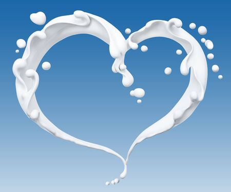 Splash of milk abstract background, milk heart isolated 3d rendering