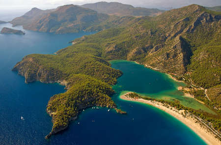 A view over Oludeniz bay in Turkey taken from Paragliding ride photo