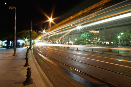 Tram route lights at night in Istanbul photo
