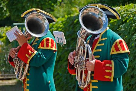 Two men with Trombones photo