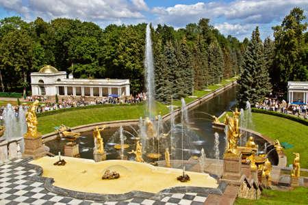 Cascading Fountains in Peterhof near Saint-Petersburg photo