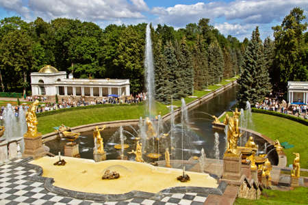 Cascading Fountains in Peterhof near Saint-Petersburg photo
