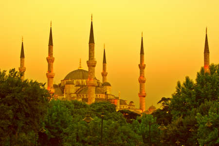 turistic: Blue Mosque of Istanbul in golden sunset light Stock Photo