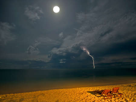 Night Beach with Moon and Thunder photo