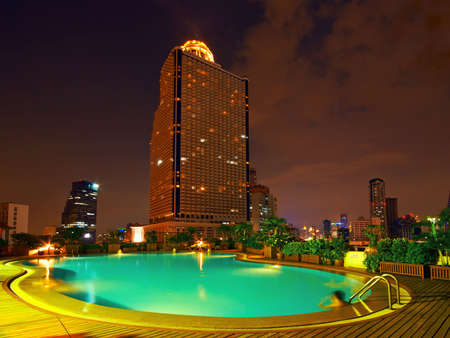 Night Pool in Hotel Stock Photo - 1934761