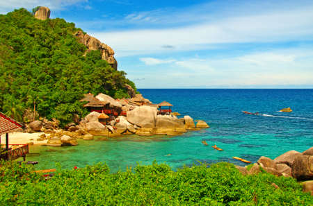 Paradise Tropical Bay with sea and mountain photo