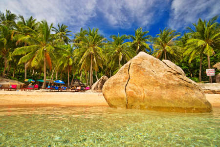 Tropical beach with huge rock photo