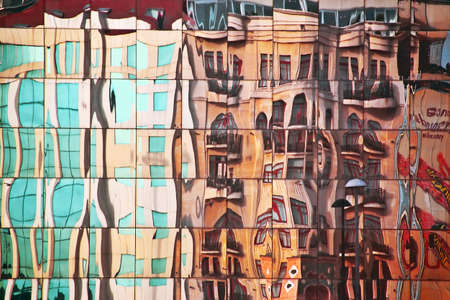Street Abstract mirrorred in Glass building