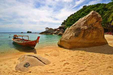 Thailand Vacations Scene with Long-tailed Boat photo