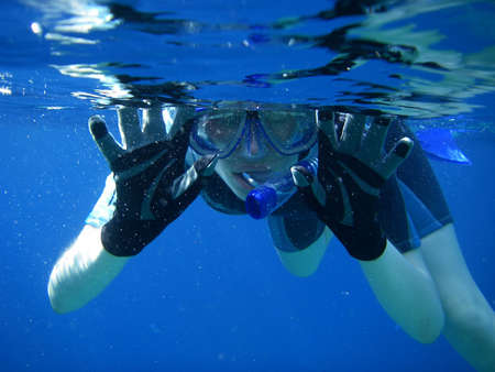 diver: Underwater Snorkel Fun in the Sea Stock Photo