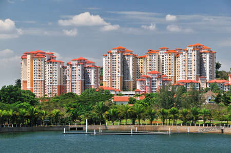 Modern Apartment Block Houses and Garden with Lake photo