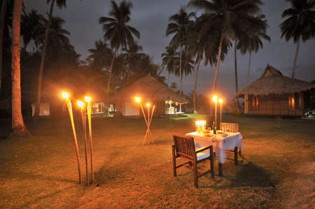 light meal: Romantic Dinner under Candle Light and Palms Editorial