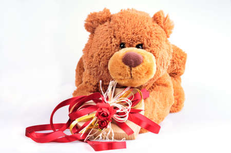 Toy-bear offering a present isolated photo