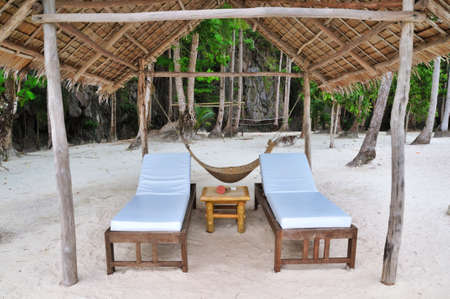 Two Vacant Luxury Beach Beds and Hammock photo