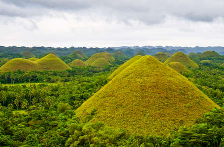 peculiar: Chocolate Hills in Bohol Philippines Stock Photo