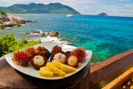mangosteen: Plateful of Exotic Fruits at Seaview Restaurant