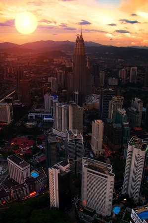 Towers at Sunset, Malaysia, city panorama  photo