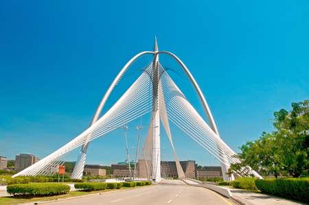 a view of the Sri Wawasan Bridge in Putrajaya, Malaysia Stock Photo
