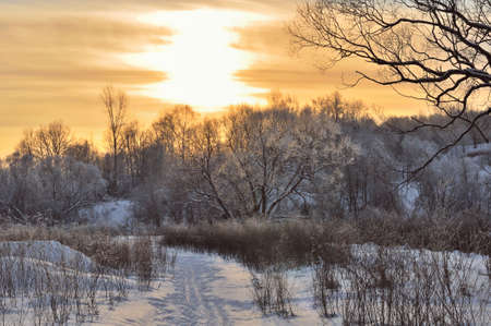 Sunset on a Cold Winter Day in the Countryside photo