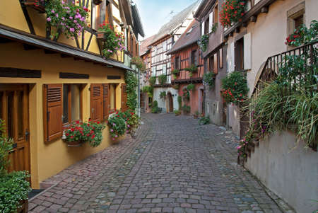 colmar: View of a typical Alsace paved street.