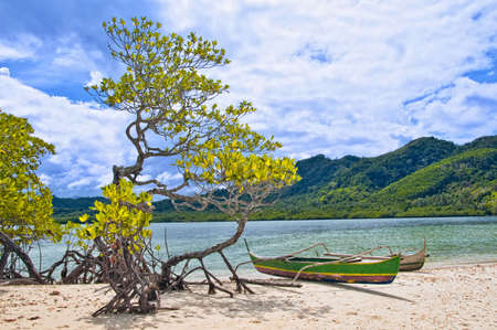 philippino: Deserted Tropical Beach with Genuine Philippino boat