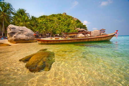 Thai Longtail Boat in Island Lagoon Stock Photo - 6627119