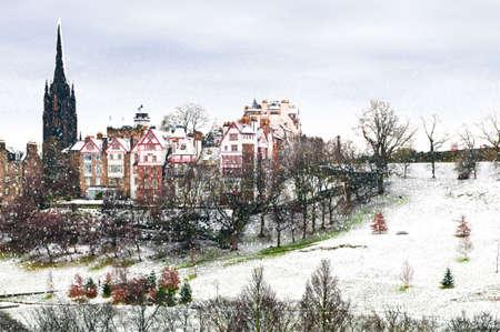 Winter Snowfall in Edinburgh Scotland UK. Stock Photo - 11710256