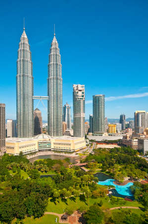 twin towers in Kuala Lumpur and gardens
