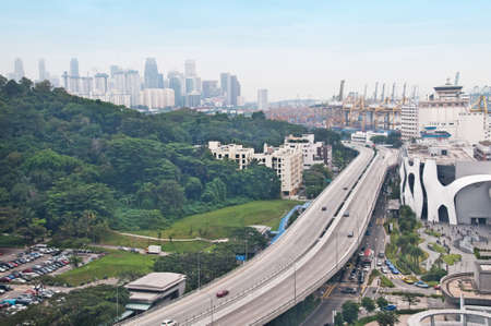 A view from above of an almost empty freeway in Singapore Stock Photo - 6991917