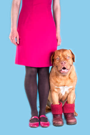 Woman Standing with her dog wearing boots photo