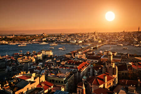 the setting sun: Setting Sun over Istanbul Panorama
