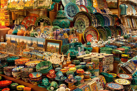 A Shop in the Grand Bazaar, Istanbul, Turkey. Imagens - 11707677