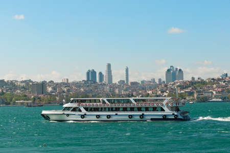 ferryboat: Traditional Istanbul ferryboat, Istanbul city on the back