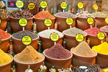Piles of spices in pots for sale, Istanbul, Turkey photo