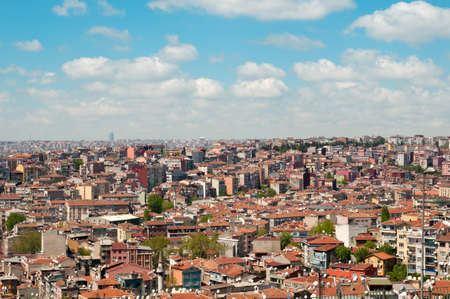 over packed: Rooftop panorama with many satelite dishes,  Istanbul, Turkey Stock Photo