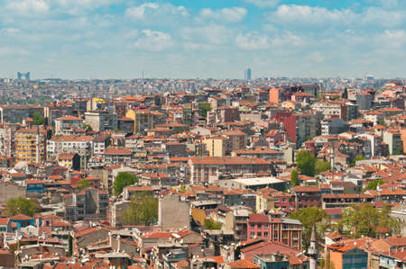 over packed: Los techos de Estambul, Turqu�a  Foto de archivo