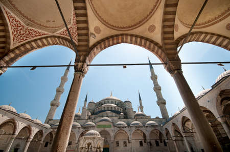 blue mosque: A view to the Blue Mosque from the archs in the yard.