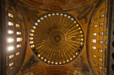 aya: The Domes of the Aya Sofia, Istanbu l-  View from inside. Editorial