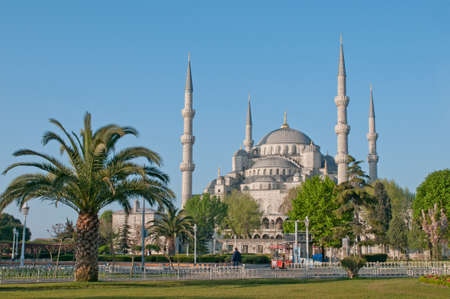 constantinople ancient: The Blue Mosque, view from the park, Istanbul, Turkey.