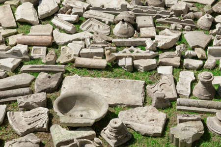 Ancient greek ruins on grass (Istanbul). photo