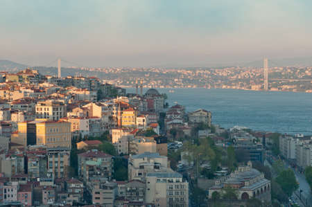 Istanbul Panorama with the Bosphorus Bridge connecting Europe and Asia. photo