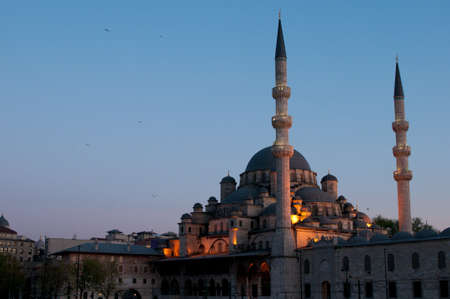 cami: The New Mosque (yeni Cami) at sunset , Istanbul, Turkey.