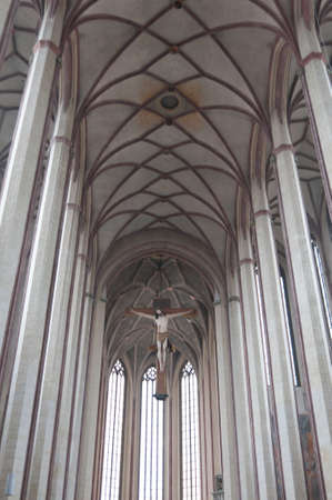 Interior ceiling and columns of bavarian cathedral.